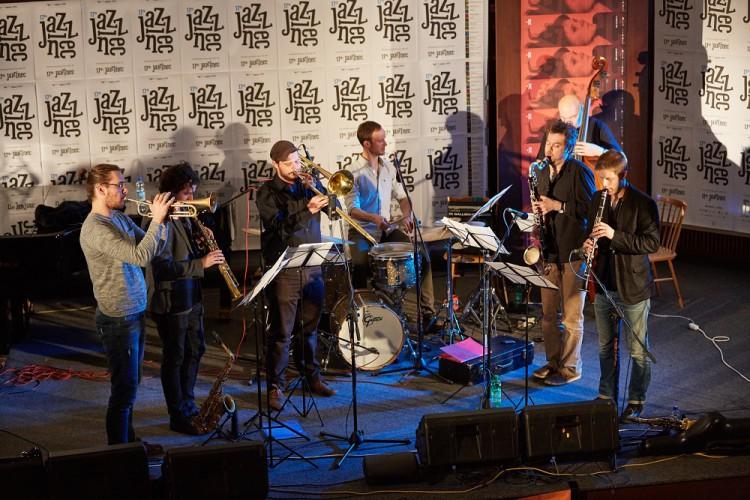 Points Septet jazz Lubos Soukup horns dechy composer skladatel saxophonist saxofonista Torok Kalfus Jirucha Hobzek Barta Honzak Jazzinec Trutnov 2015 Photo by Milos Salek