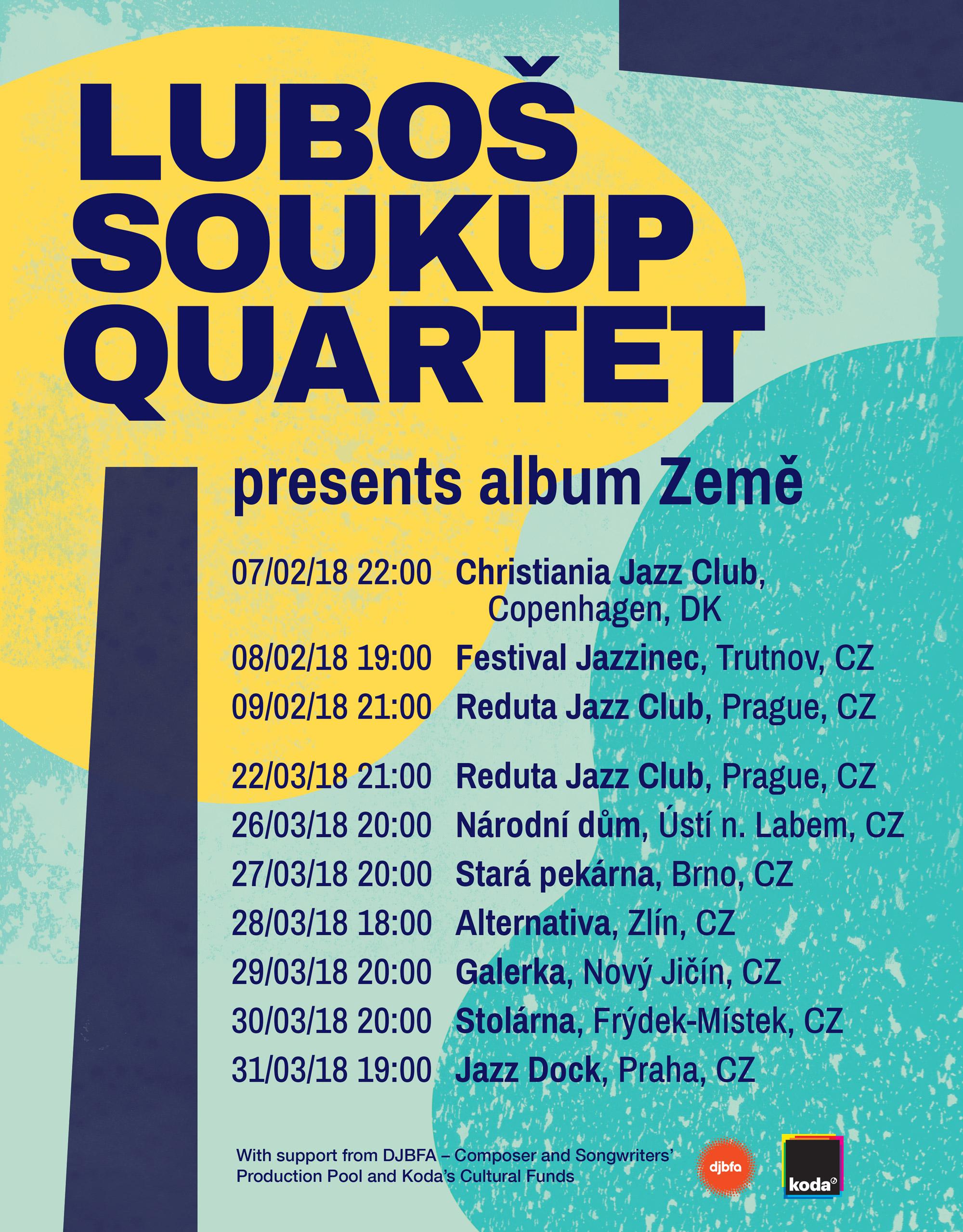 Lubos Soukup Quartet presenting album Zeme