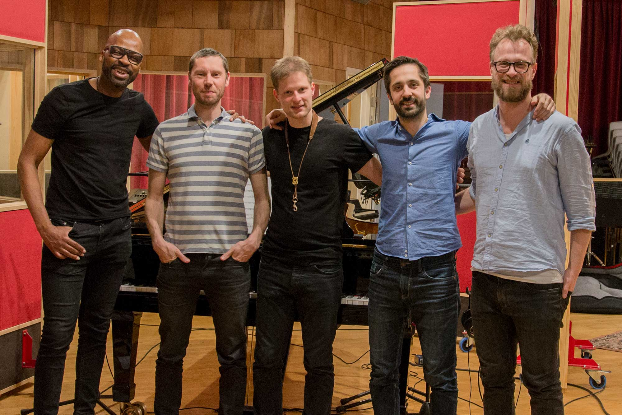Lubos soukup Quartet in a recording studio with Lionel Loueke