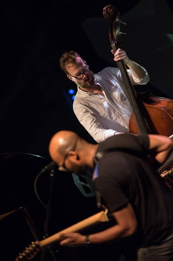 Basist Morten Haxholm Jensen playing with Lubos Soukup Quartet at Jazz Fest Brno 2017   photo by Martin Zeman