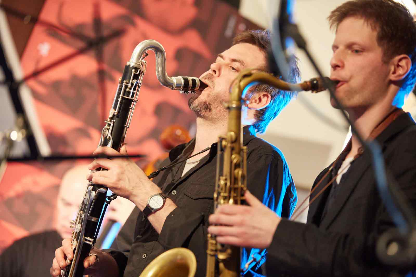 Marcel Barta and Lubos Soukup playing with Points Septet at Jazzinec Trutnov, photo Milos Salek