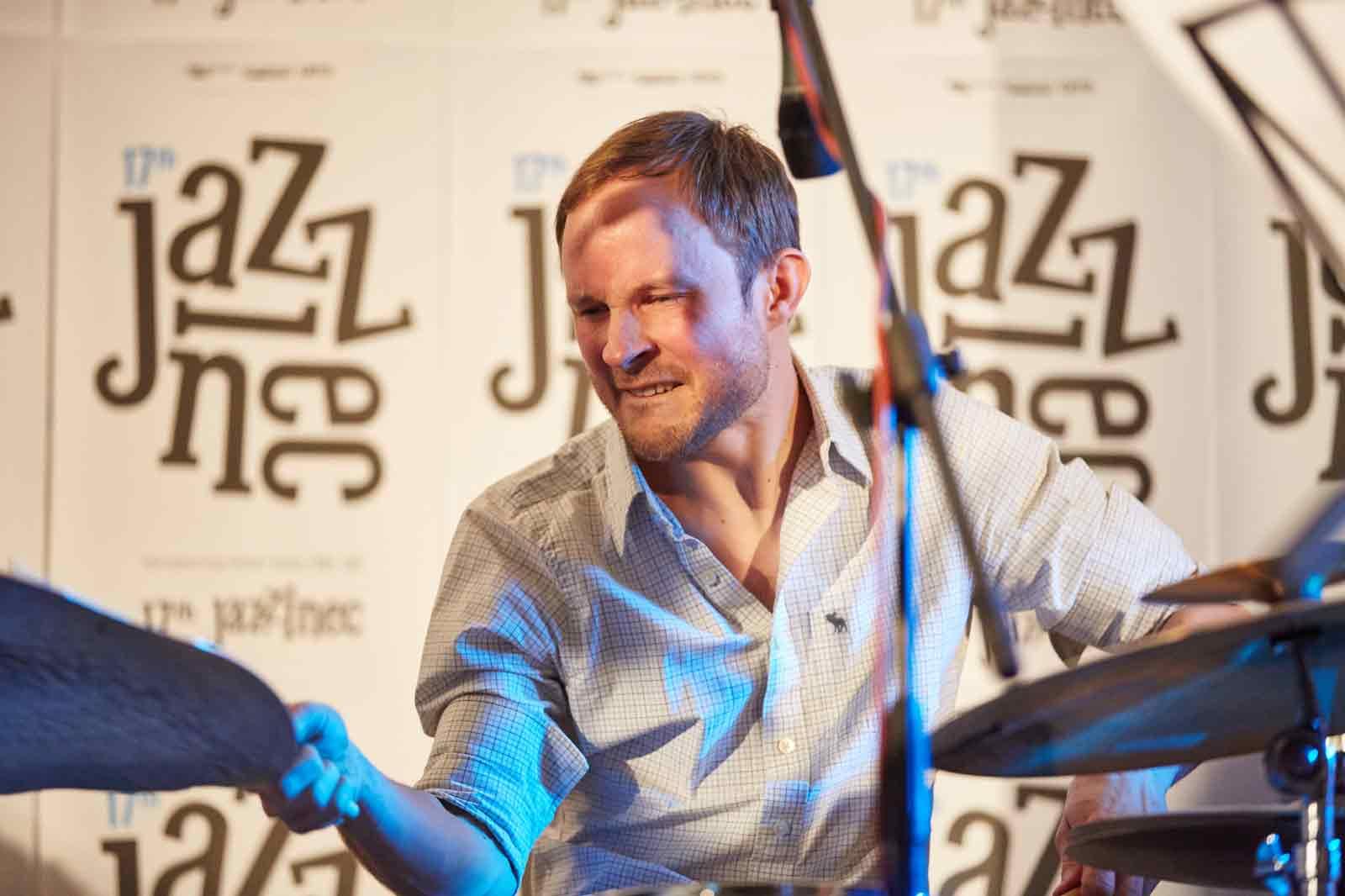 Tomas Hobzek playing with Points Septet at Jazzinec Trutnov, photo Milos Salek